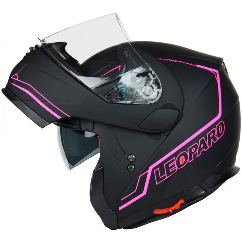 Kask motocyklowy szczękowy z blendą LEOPARD SAFARI LEO-838