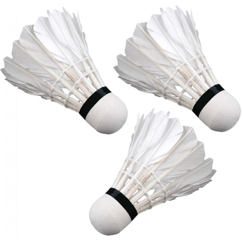 Lotki lotka do badmintona piórowe ENERO 3 sztuki białe