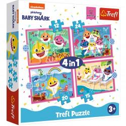 Trefl Puzzle 4w1 BABY SHARK Rodzina Rekinów 71 elementów